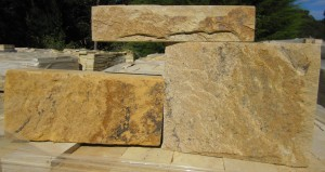 Quarry Face Block Highlighting the natural colours and textures of natural sandstone